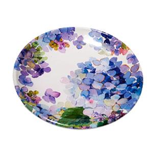 Plato de melamina con flores moradas de 23x23x3cm