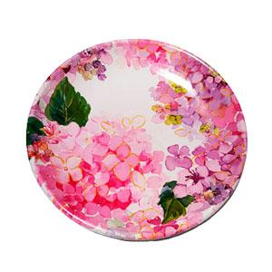Plato de melamina con flores rosas de 23x23x3cm