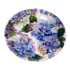 Plato de melamina con flores azules de 28x28x3cm