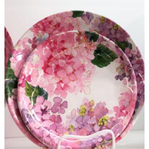Plato de melamina con flores Rosas de 28x28x3cm