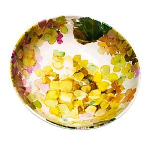 Tazón de melamina con flores verdes de 19x19x6cm