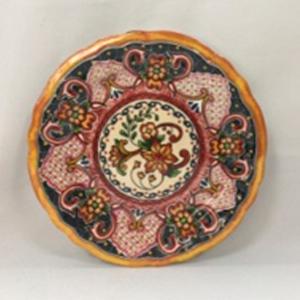 Plato de melamina diseño mosaico rosa de 21x21x6cm