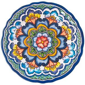 Plato de melamina diseño mosaico azul de 21x21x6cm