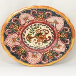 Plato de melamina diseño mosaico rosa de 29x29xx6cm