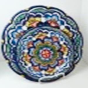 Plato de melamina diseño mosaico azul de 29x29x6cm