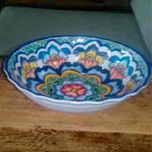 Tazón de melamina diseño mosaico azul de 17x17x6cm