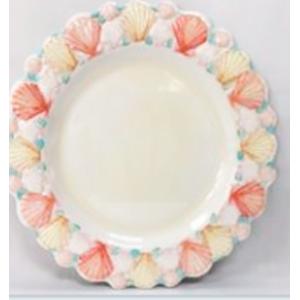Plato de melamina diseño conchas en la orilla de colores de 22x22x3cm