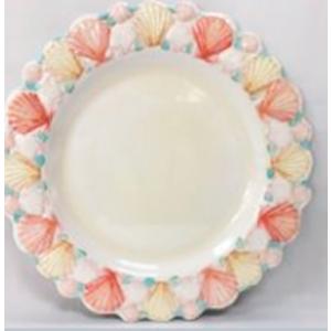 Plato de melamina diseño conchas en la orilla de colores de 28x28x3cm