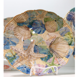 Plato de melamina diseño conchas de 28x28x6cm