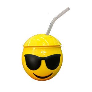 Taza de Emoji con lentes tapa y popote de 10x10x11cm