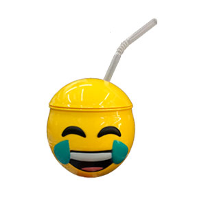 Taza de Emoji llorando con tapa y popote de 10x10x11cm