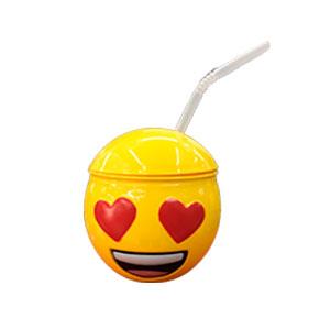 Taza de Emoji enamorado con tapa y popote de 10x10x11cm