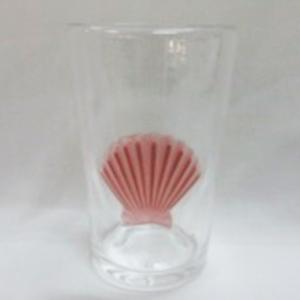Vaso  con diseño de concha ambar de 9x9x14cm