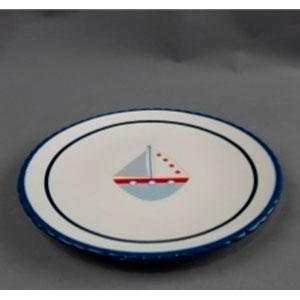 Plato blanco con lineas azules y diseño de barco de 20x20x2cm