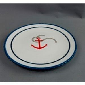 Plato blanco con lineas azules y diseño ancla de 26x26x3cm