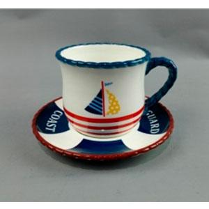 Taza con diseño de barco azul  y plato diseño salvavidas de 14x14x9cm