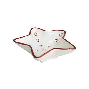 Platito diseño estrella blanca con rojo de 10x10x3cm