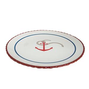 Plato blanco con lineas rojas y diseño ancla de 26x26x3cm