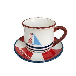 Taza diseño barco rojo con plato diseño salvavidas de 14x14x9cm
