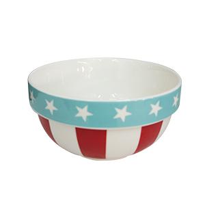Bowl diseño rayas y linea azul de 14x14x7cm