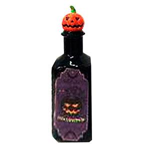 Botella negra con estampado de veneno y tapón diseño calabaza de6x6x18cm