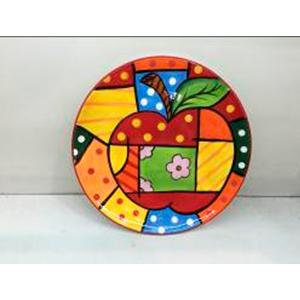 Plato diseño manzana con cuadros de colores de 33cm