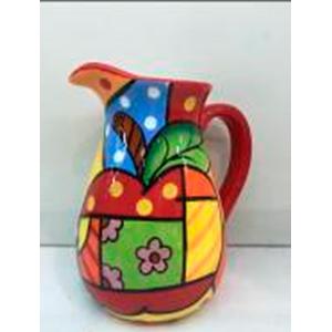 Jarra diseño manzana y cuadros a colores de 22cm