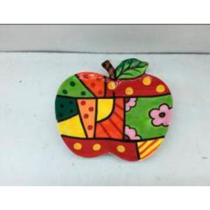 Plato diseño manzana con cuadros de colores de 20cm