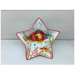 Plato diseño estrella estampado marino con filo rojo de 25cm