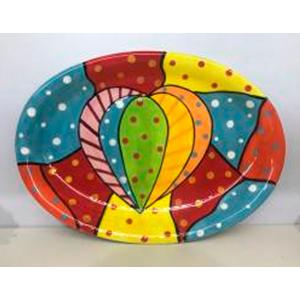 Plato oval diseño corazón y cuadros de colores de 38cm