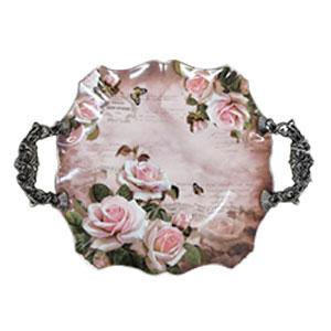 Charola redonda con asas diseño flores de 36.5x28x4.5cm