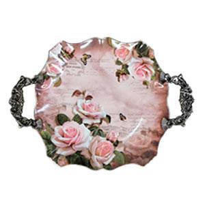 Charola redonda con asas diseño flores de 42.5x33.5x4.6cm