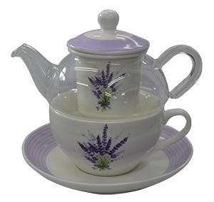 Tetera de cristal con filtro  con  taza y  plato de porcelana con estampado   de flores lavanda
