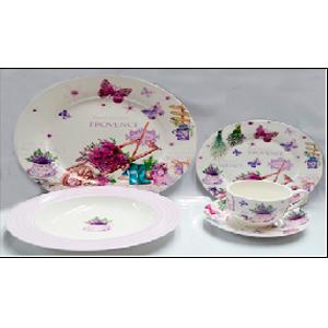 Vajilla de porcelana Bone China con estampado de mariposas y flores lavanda de 20 piezas