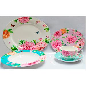Vajilla de porcelana Bone China con estampado de flores rosas de 20 piezas