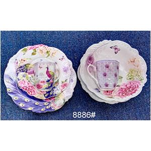 Vajilla de porcelana Bone China con estampado de flores y Pavorreal de 20 piezas