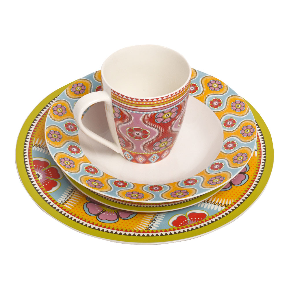 Vajilla de porcelana Bone China con estampado de flores de colores de 16 piezas