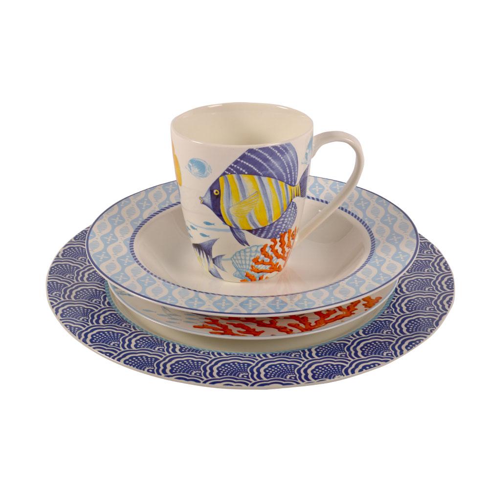 Vajilla de porcelana Bone China con estampado Marino de 16 piezas