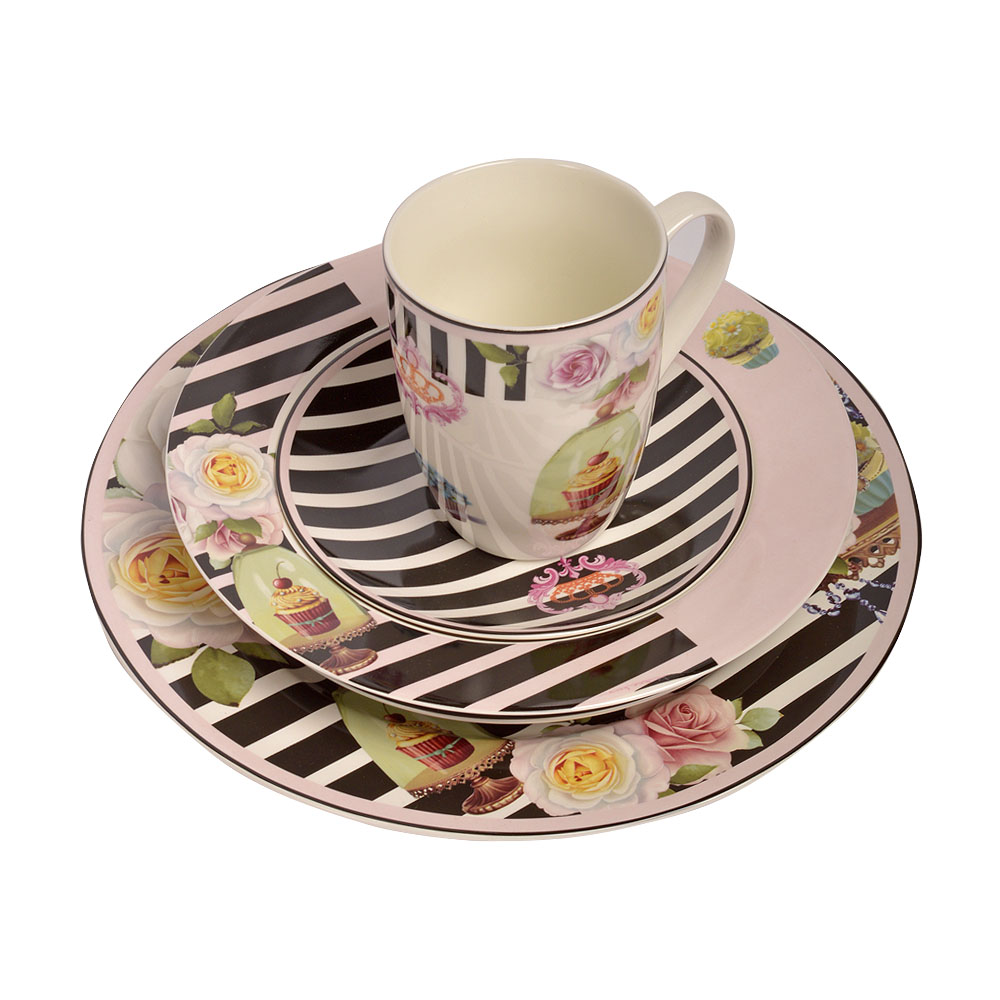 Vajilla de porcelanapara 4 personas con estampado de flores y Pastelillos de 20 piezas