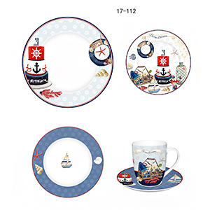 Vajilla de porcelana Bone China con estampado marino de 20 piezas