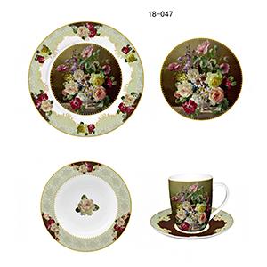 Vajilla de porcelana Bone China con estampado flores tonos cafe de 20 piezas