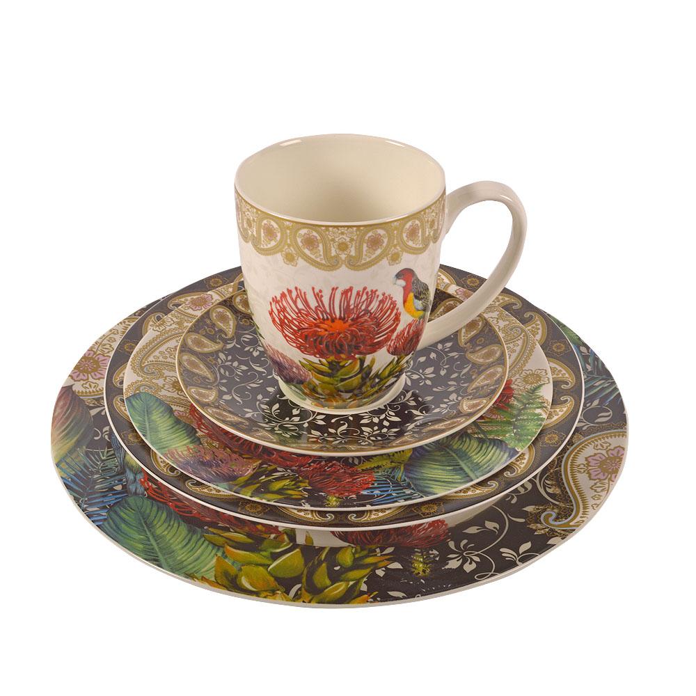 Vajilla de porcelana Bone China con estampado flores y pajaros de 20 piezas