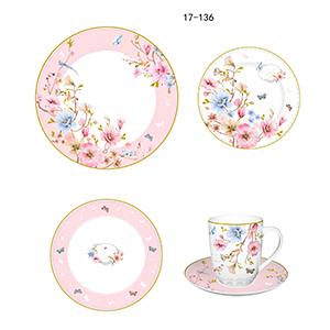 Vajilla de porcelana Bone China con estampado flores en tonos pastel de 20 piezas