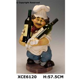 Cocinero de resina c/porta botellas de 57.5cm