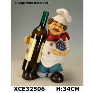 Cocinero de resina c/porta botellas de 34cm