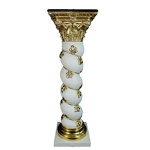 Pedestal trenzado blanco con dorado de 38.5x38.5x126cm