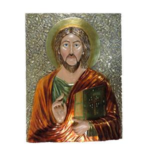 Cuadro de Jesus en tonos electro plateados de 72x12x102cm