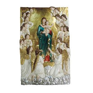 Cuadro diseño Virgen con Angeles en tonos electro plateados de 79.5x13x128cm