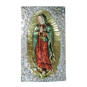 Cuadro de Virgen Maria en tonos electro plateados de 73x8x122cm