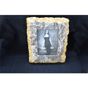 Portarretratos diseño marmól gris de 21x3x25/10x15x3cm